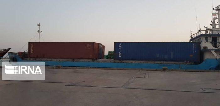 اولین محموله کانتینری از بندرآبادان به خارج از کشور صادر شد