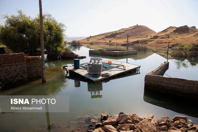 """زیرِ آب رفتن برخی منازل روستای """"تلخاب"""" با آبگیری سد گتوند"""